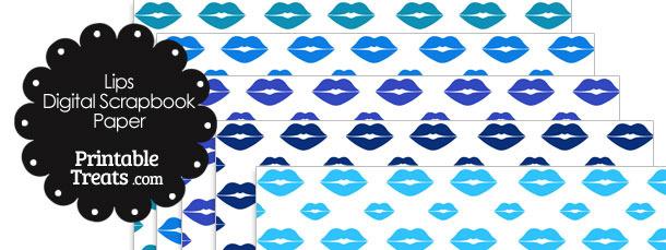Blue Lips Digital Scrapbook Paper