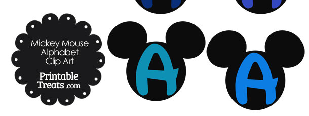 Blue Mickey Mouse Head Letter A Clipart