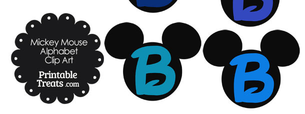 Blue Mickey Mouse Head Letter B Clipart
