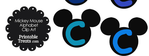 Blue Mickey Mouse Head Letter C Clipart
