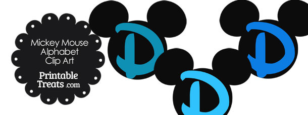 Blue Mickey Mouse Head Letter D Clipart