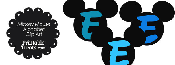 Blue Mickey Mouse Head Letter E Clipart