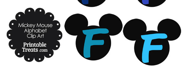 Blue Mickey Mouse Head Letter F Clipart