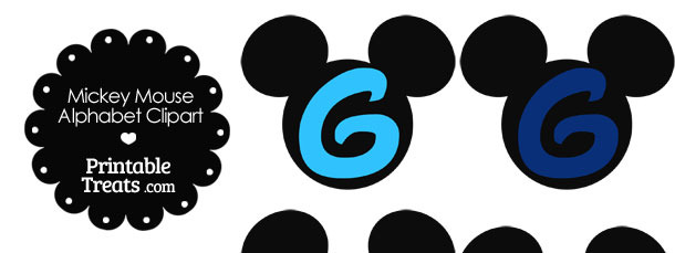 Blue Mickey Mouse Head Letter G Clipart