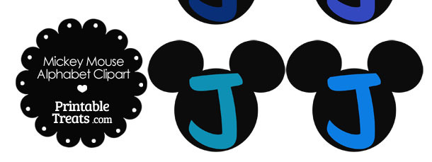 Blue Mickey Mouse Head Letter J Clipart