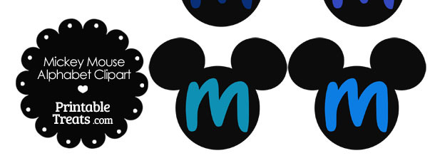 Blue Mickey Mouse Head Letter M Clipart