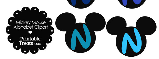 Blue Mickey Mouse Head Letter N Clipart