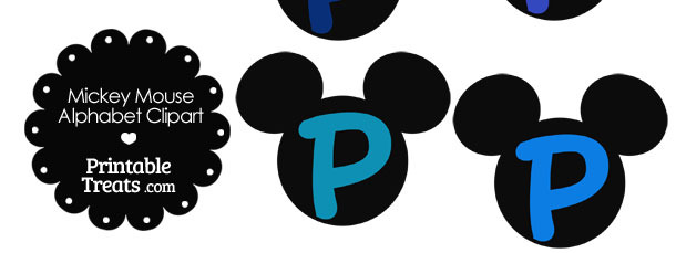 Blue Mickey Mouse Head Letter P Clipart