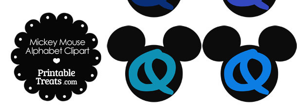 Blue Mickey Mouse Head Letter Q Clipart