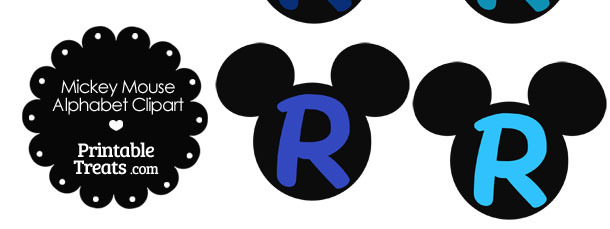 Blue Mickey Mouse Head Letter R Clipart