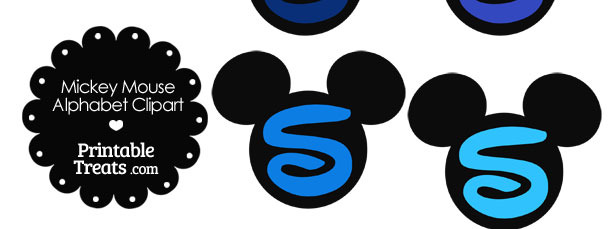 Blue Mickey Mouse Head Letter S Clipart