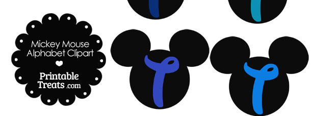 Blue Mickey Mouse Head Letter T Clipart