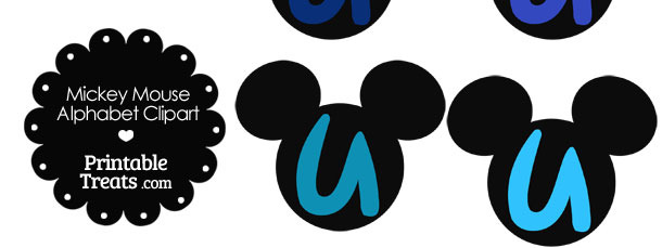 Blue Mickey Mouse Head Letter U Clipart