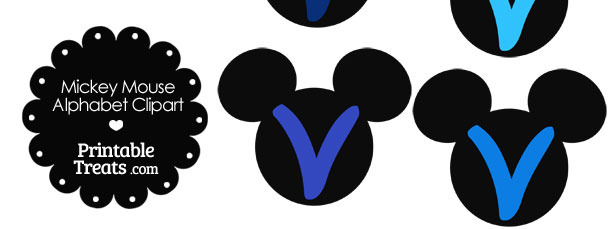 Blue Mickey Mouse Head Letter V Clipart