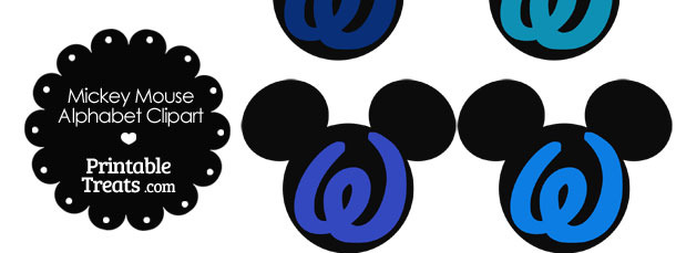 Blue Mickey Mouse Head Letter W Clipart