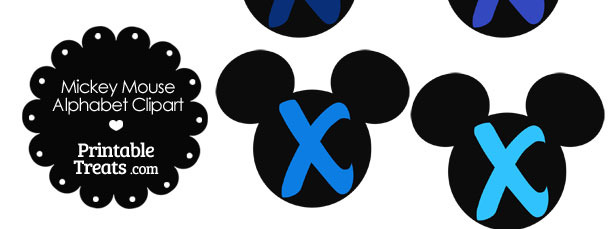 Blue Mickey Mouse Head Letter X Clipart