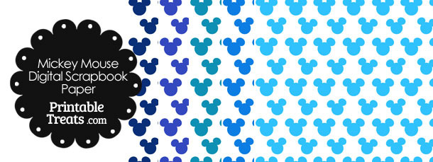 Blue Mickey Mouse Head Scrapbook Paper