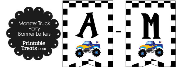 Blue Monster Truck Birthday Bunting Banner Letters A-M