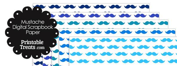 Blue Mustache Digital Scrapbook Paper