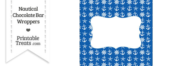Blue Nautical Chocolate Bar Wrappers