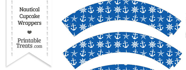 Blue Nautical Cupcake Wrappers