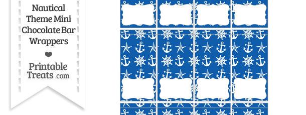 Blue Nautical Mini Chocolate Bar Wrappers