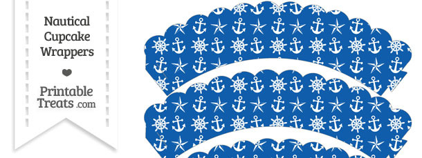 Blue Nautical Scalloped Cupcake Wrappers