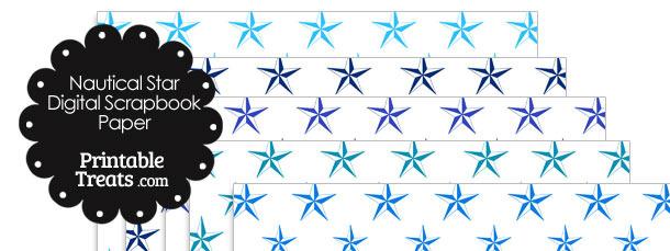 Blue Nautical Star Digital Scrapbook Paper