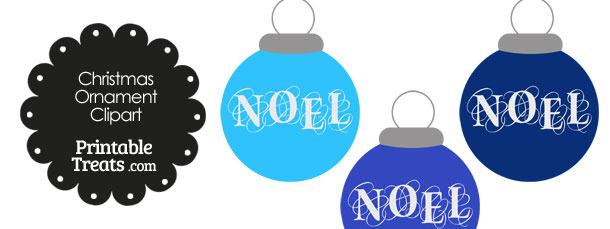 Blue Noel Christmas Ornament Clipart