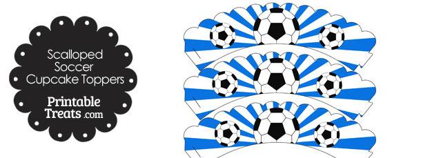 Blue Scalloped Sunburst Soccer Cupcake Wrappers