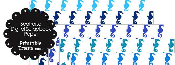 Blue Seahorse Digital Scrapbook Paper