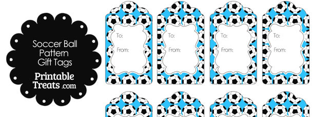 Blue Soccer Ball Pattern Gift Tags