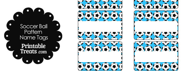 Blue Soccer Ball Pattern Name Tags