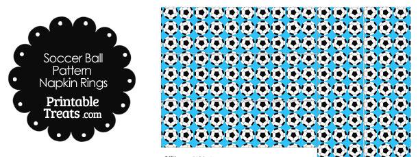 Blue Soccer Ball Pattern Napkin Rings