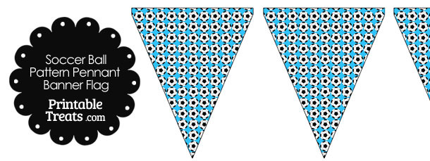 Blue Soccer Ball Pattern Pennant Banner Flag