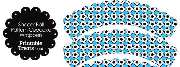 Blue Soccer Ball Pattern Scalloped Cupcake Wrappers