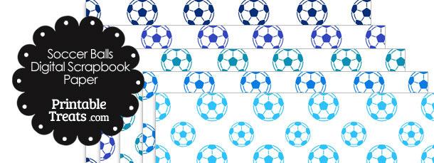 Blue Soccer Digital Scrapbook Paper