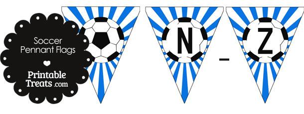 Blue Soccer Party Flag Letters N-Z