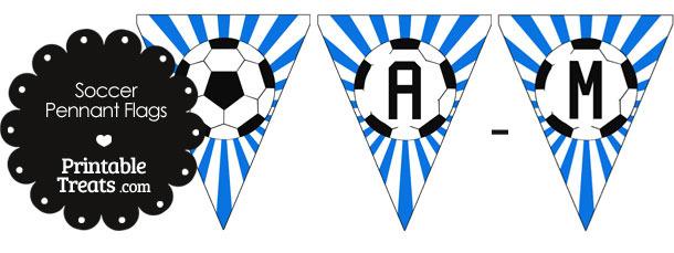 Blue Soccer Pennant Banner Flag Letters A-M