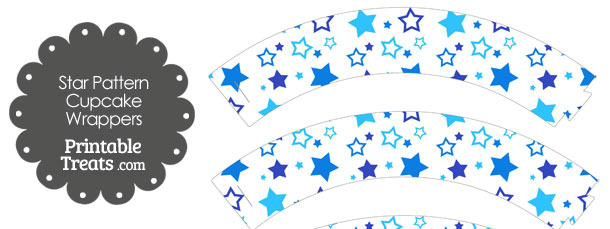 Blue Star Pattern Cupcake Wrappers
