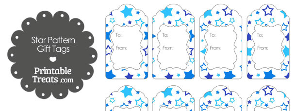 Blue Star Pattern Gift Tags