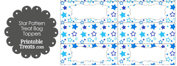 Blue Star Pattern Treat Bag Toppers