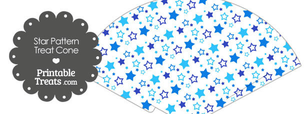 Blue Star Pattern Treat Cone