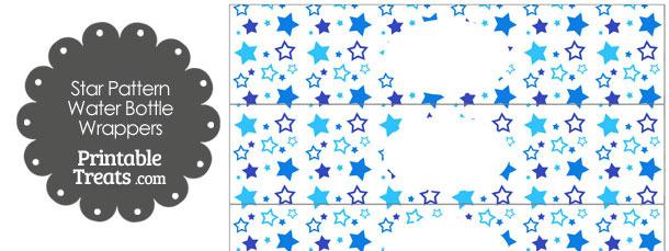 Blue Star Pattern Water Bottle Wrappers