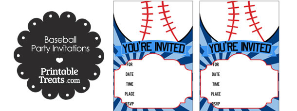 Blue Sunburst Baseball Party Invites