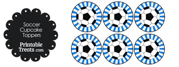 Blue Sunburst Soccer Cupcake Toppers