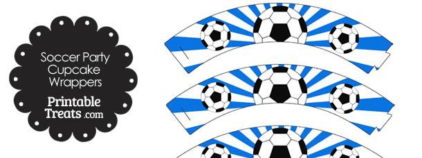 Blue Sunburst Soccer Cupcake Wrappers