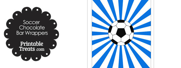 Blue Sunburst Soccer Party Candy Wrappers