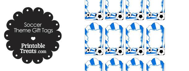 Blue Sunburst Soccer Party Gift Tags