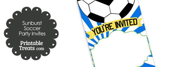 Blue Sunburst Soccer Party Invites